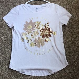 Simple white T-Shirt with floral design and quote
